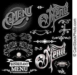 menu, elementi, disegno, calligraphic, etichetta
