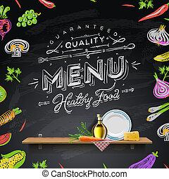 menu, elementi, disegno, lavagna