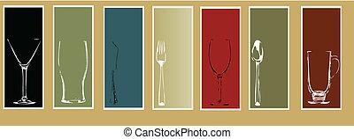 menu, elementi, disegno