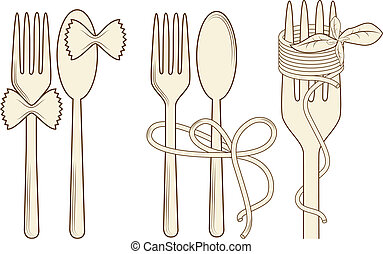 Vector picture with elements for menu: fork, spoon, pasta, basil