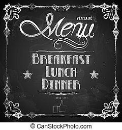 menu, escrito, chalkboard