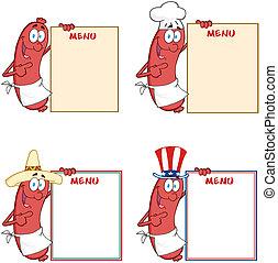menu., esposizione, collezione, salsicce