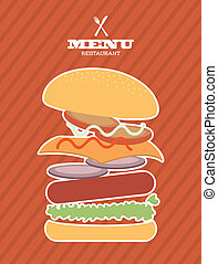 menu fast food design over lineal background vector ...