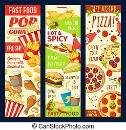 menu, fastfood, vector, banieren, restaurant