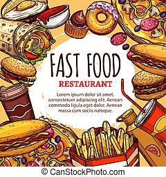 menu, fastfood, vector, restaurant, poster