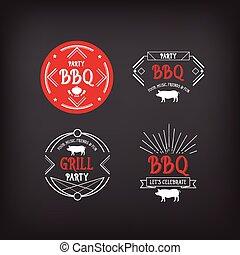menu, feestje, barbecue, icon., bbq, design.