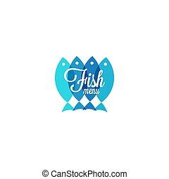 menu, fish, design., fruits mer, restaurant