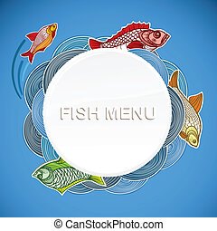 menu, fish, vecteur, gabarit