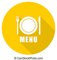 menu flat design yellow web icon