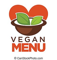 menu, folhas, tigela, vegan, promocional, sopa, cartaz