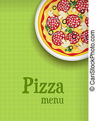 menu, fond, pizza