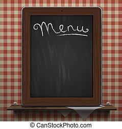 menu, fond, tableau noir