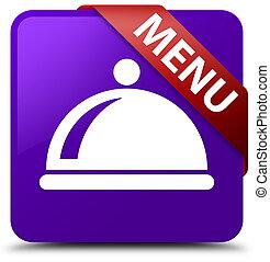 Menu (food dish icon) purple square button red ribbon in corner