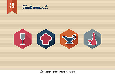 Menu food flat icon set.