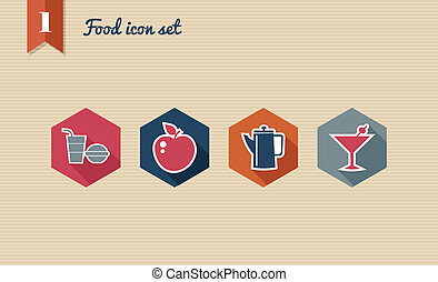 Menu food flat icons set