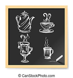 Menu for Cafe - Hand Drawn Cup of Coffe and Tea. Menu for...