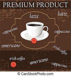 menu for coffee in vintage style