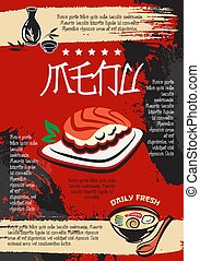 Menu for Japanese seafood restaurant vector design -...