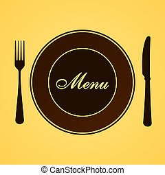 Brown cutlery set with plate fork and knife on yellow background