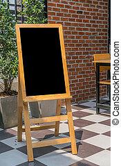 Menu frame in front of Restaurant .