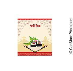menu, frame, kaart, artistiek, sushi, -
