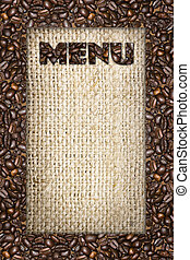 menu frame of coffee beans