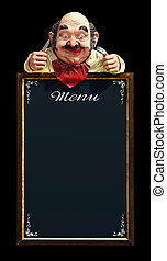 Menu Frame - Vintage menu frame with hungry dummy isolated...