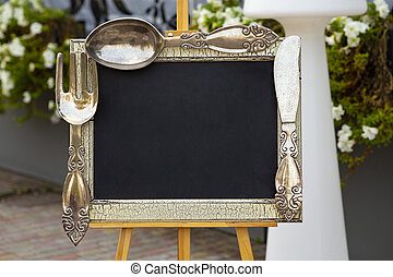menu frame with spoon and fork