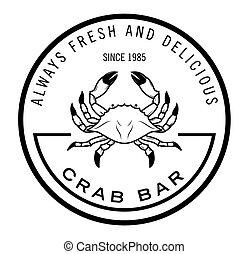 menu, fruits mer, :, écusson, étiquette