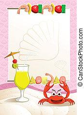 menu, fruits mer, restaurant