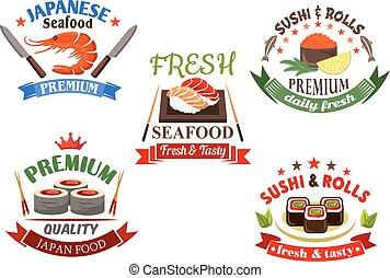 menu, fruits mer, sushi, éléments