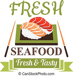 menu, fruits mer, sushi, japonaise, conception, nigiri, icône