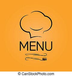menu, fundo, cozinheiro, desenho