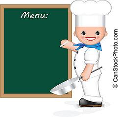 (menu), glücklich, küchenchef