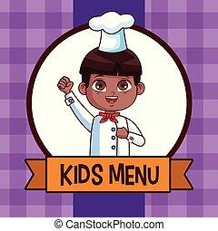 menu, gosses, dessin animé