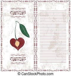 menu, grafico, ciliegia