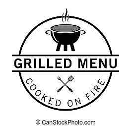 menu, grillé