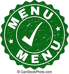 Menu Grunge Stamp with Tick