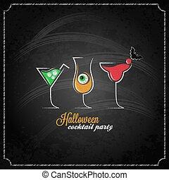 menu, halloween, cocktails, conception, fond, fête