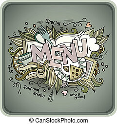 Menu hand lettering and doodles elements