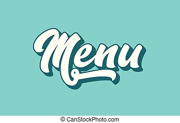 menu hand written word text for typography design