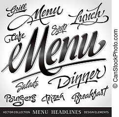 menu headlines set (vector) - menu headlines set, hand ...