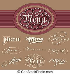 menu headlines set (vector) - set of 9 menu headlines, hand...