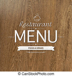 menu, hout, ontwerp, retro, restaurant