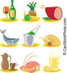 menu, icônes, restaurant