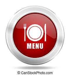 menu icon, red round glossy metallic button, web and mobile app design illustration