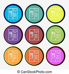 menu icon sign. Nine multi colored round buttons. Vector