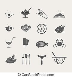 menu icons restaurant, tea, coffee, ice cream, steak, sushi, pizza