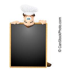 menu, illustration, chef cuistot, arrière-plan., vecteur, tableau