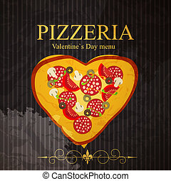 menu, illustrazione, giorno, vettore, fidanzato, sagoma, pizza